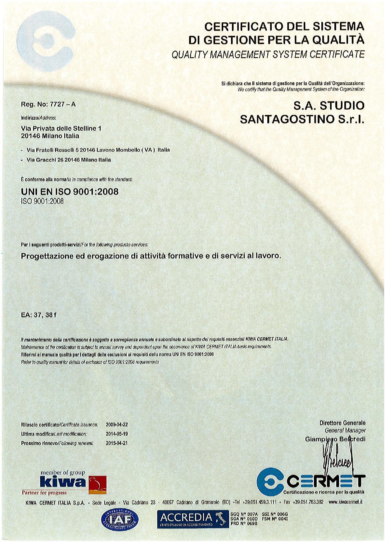 Certificazione del Sistema di gestione per la qualità